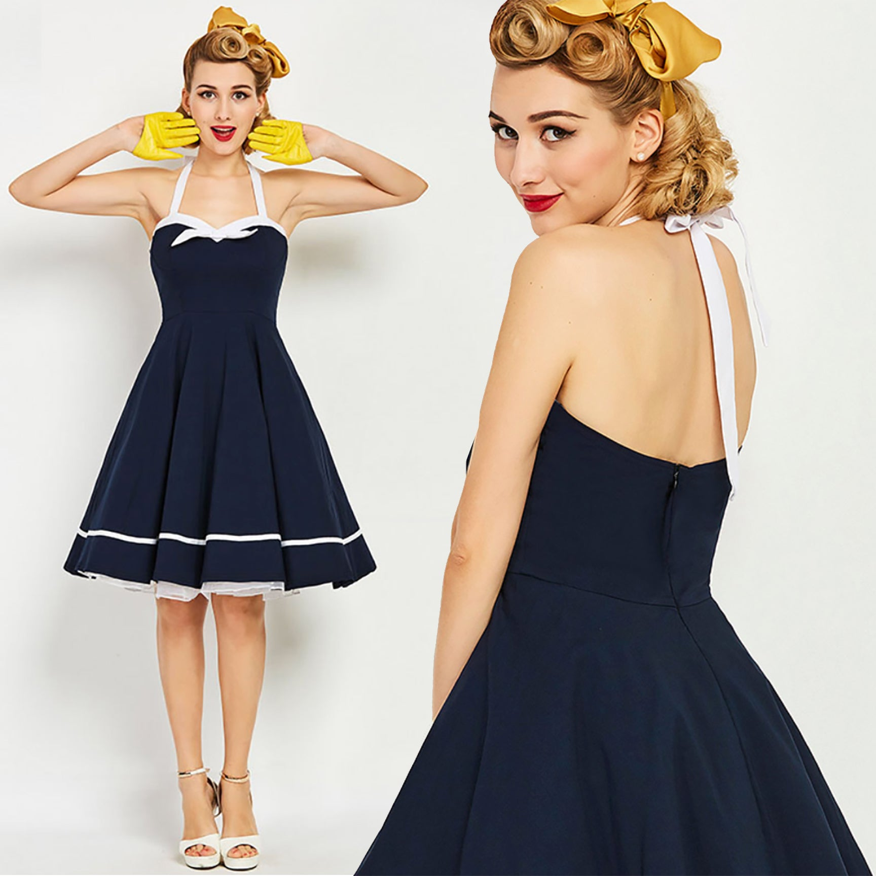 Navy Nautical Swing Dress pinup