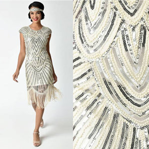 US STOCK Cream White and Gold Cap Sleeve Beaded Fringe Sequin Deco Flapper Dress