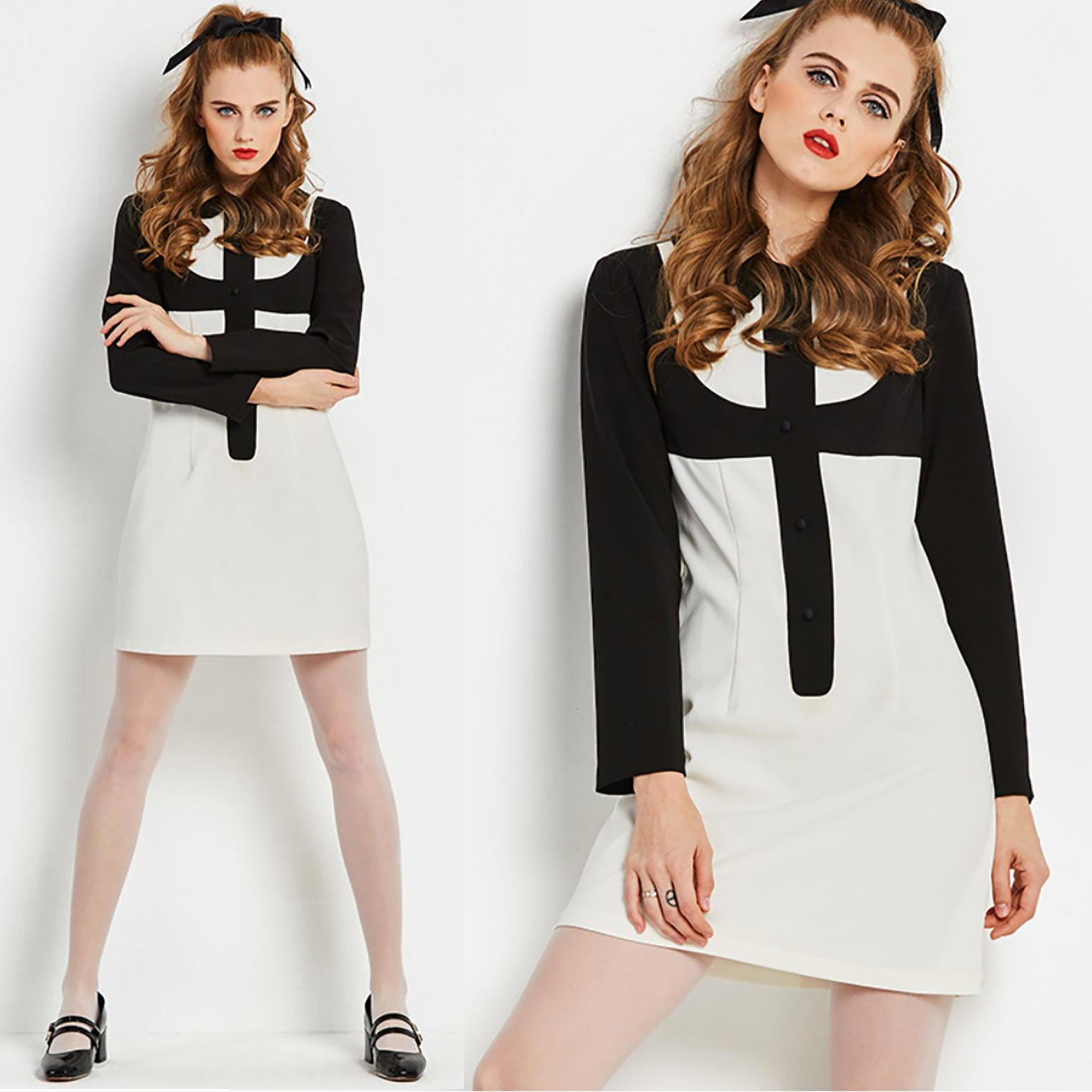 Mod Black and White Op Art Go Go Mini Dress