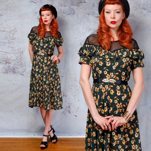 Green floral sheer neckline 1940s 1950s vintage dress small