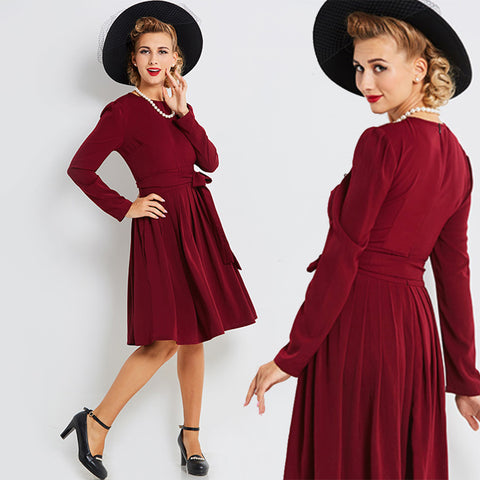 Vintage 1940s Wine Red Full Skirt Dress with Puffed Sleeves