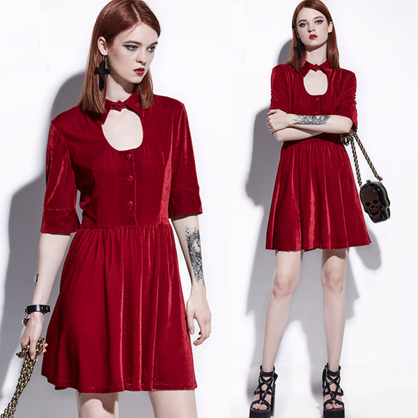 Goth Red Velvet MOD Mii Skater Dress