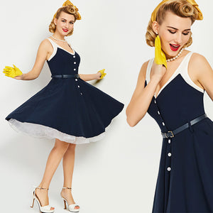 Vintage 1950s Navy Nautical Button Down Dress