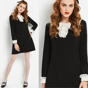 MOD Black and White mini dress with Lace Collar and Cuffs