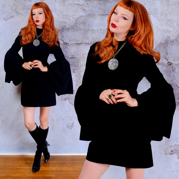 Nasty Gal backless black knit mini dress with massive bell sleeves Small 1960s vintage mod unique