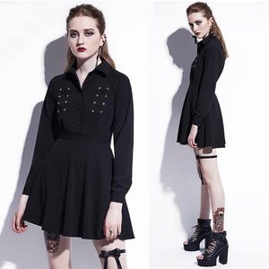 Black Coset Detail Goth Lace-up Mini Dress