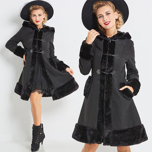Vintage 1960s Hooded Black Princess Cut Coat with Faux Fur and Corset Detail