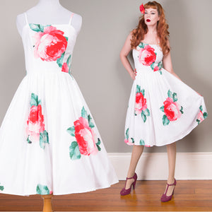 US STOCK Red Roses on White Full Skirt Dress