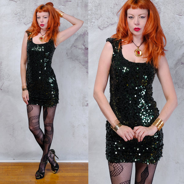 Vintage 1990s Vintage B Darlin green sequin bodycon dress. Small 5/6
