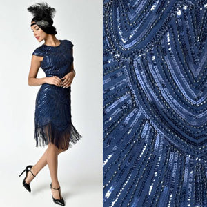 Navy Blue Cap Sleeve Beaded Fringe Sequin Deco Flapper Dress