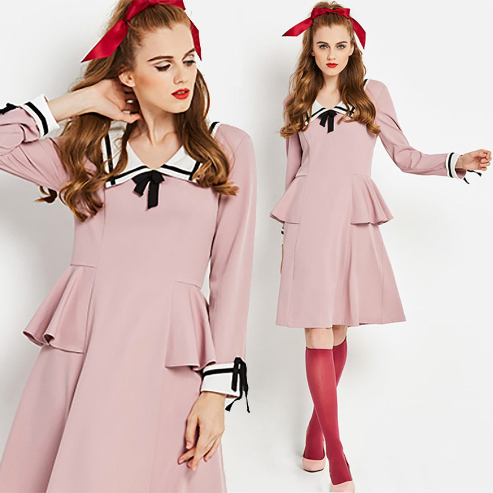 Pastel Pink Dress with Peplum Detail 1960s 1950s mod