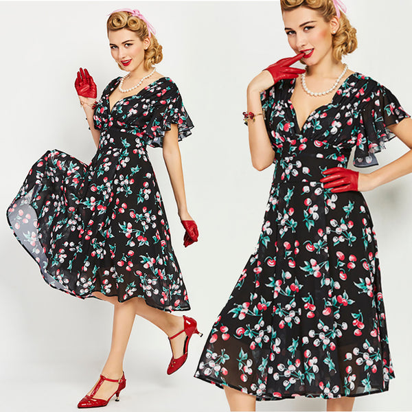 US stock Cherries Chiffon Flutter Sleeves Fit and Flare Dress