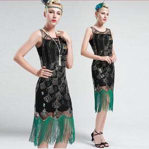 Green and Black Peacock Sequin Fringed Party Flapper Dress