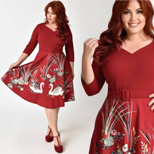 Burgundy Swan Scene Print Sleeved Swing Dress PLUS SIZE