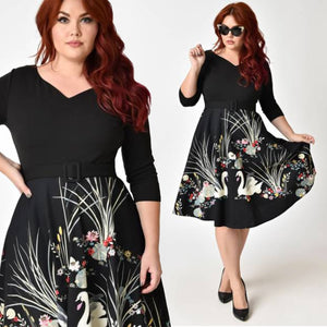 Black Swan Scene Print Sleeved Swing Dress PLUS SIZE
