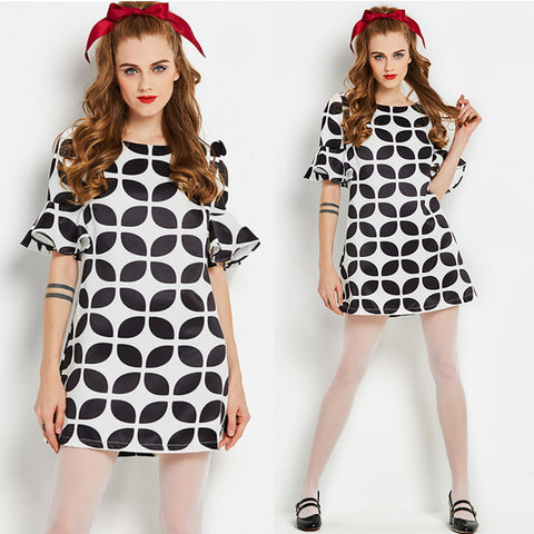 Black and White Psychedelic Op Art Mini Go Go Dress
