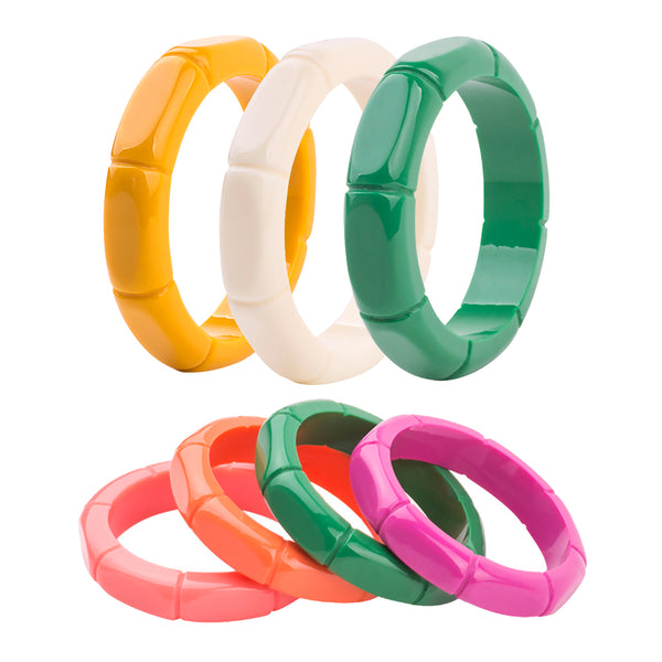 New Fake Bakelite Fakelite Carved Resin Bamboo Cuff Bracelet - 5 colors available