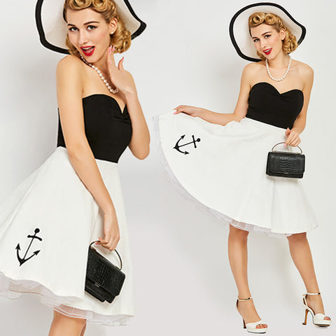 Vintage 1950s Strapless Black and White Anchor Dress