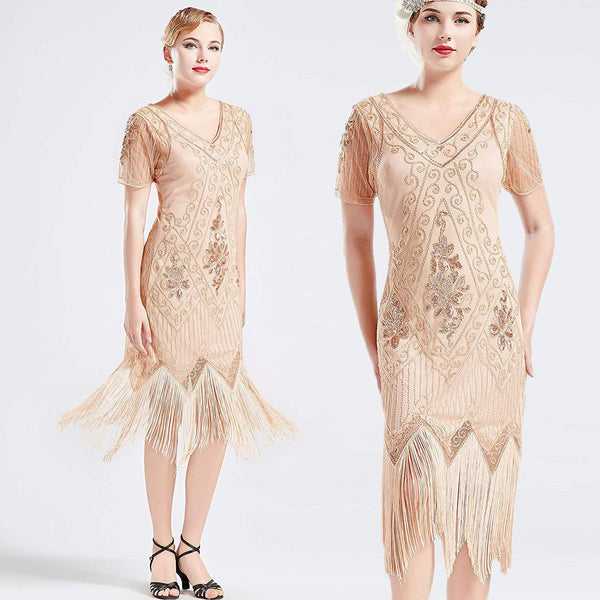 US Stock Vintage 1920s Unique Art Deco Fringed Sequin Dress 20s Flapper Gatsby Dress