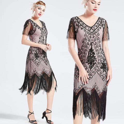 US STOCK Vintage 1920s Unique Black and Beige Unique Art Deco Fringed Sequin Dress 20s Flapper Gatsby Dress