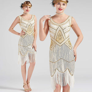 Vintage 1920s Cream White Flapper 20s Great Gatsby Dress Fringed Sequin Art Deco Dress