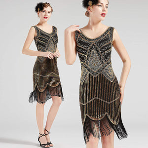 Vintage Black and Gold 1920s Flapper 20s Great Gatsby Dress Fringed Sequin Art Deco