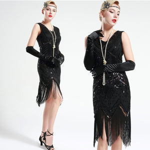 US Stock Jet Black glass beaded Fringe Flapper Dress