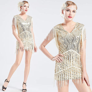 US STOCK Vintage Ivory 1920s Unique Flapper Dress Long Fringed Gatsby Dress Roaring 20s Sequins Beaded Dress Vintage Art Deco Dress