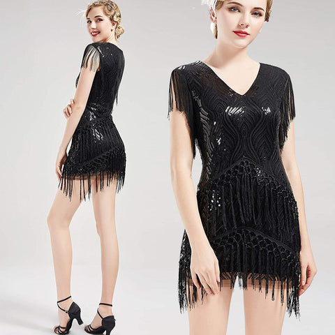 US STOCK Vintage Black 1920s Unique Flapper Dress Long Fringed Gatsby Dress Roaring 20s Sequins Beaded Dress Vintage Art Deco Dress