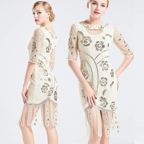 Vintage 1920s Unique Ivory White Flapper Dress Beaded Gatsby Dress Roaring 20s Sequins Dress Vintage Art Deco Dress Wedding