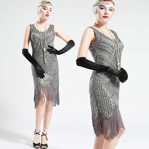 Vintage Silver Unique 1920s Flapper 20s Great Gatsby Dress Fringed Sequin Art Deco