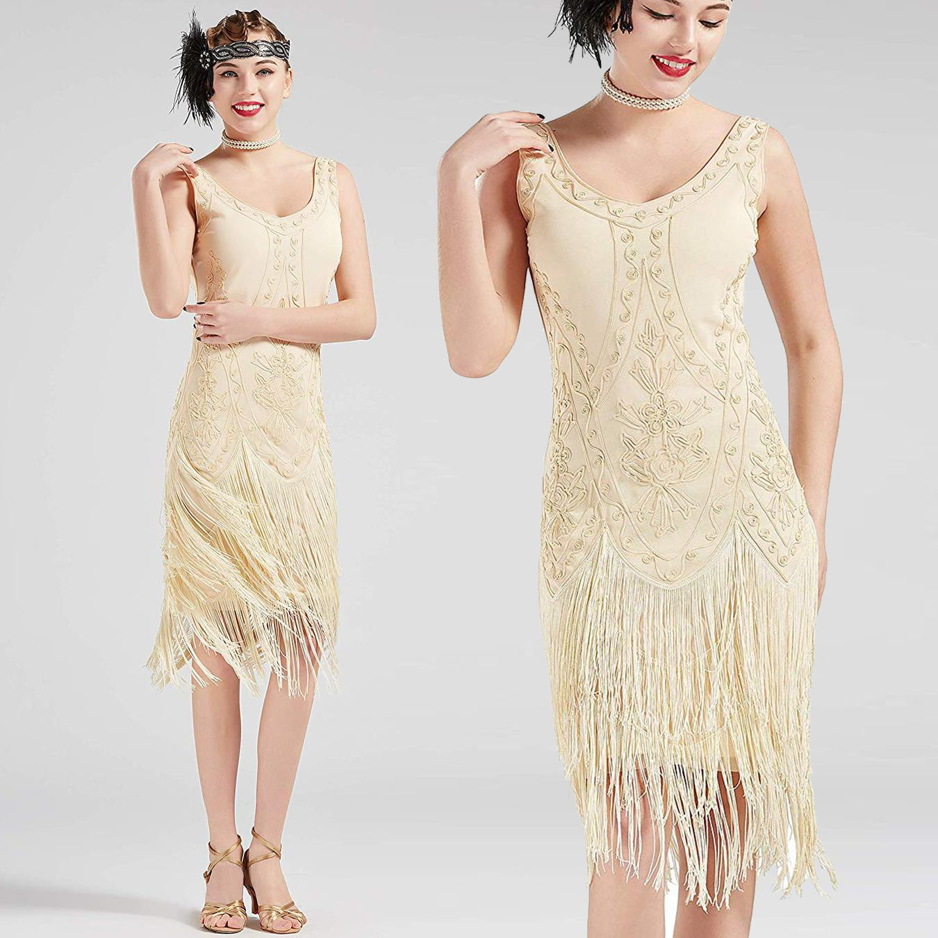 US STOCK Vintage Cream 1920s Unique Flapper Dress Roaring 20s Great Gatsby Fringed  Dress