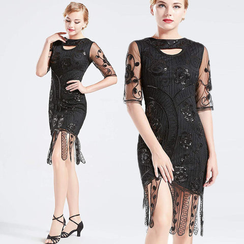Vintage 1920s Unique Flapper Dress Beaded Gatsby Dress Roaring 20s Sequins Dress Art Deco