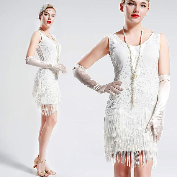 US STOCK Vintage White 1920s Flapper Unique Dress Roaring 20s Great Gatsby Fringed Dress