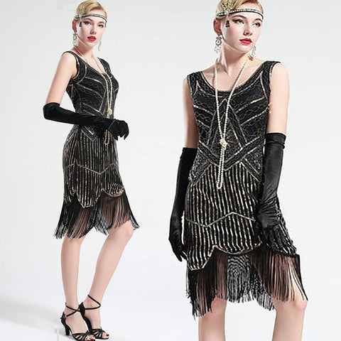 Vintage Black Unique 1920s Flapper Dress Roaring 20s Great Gatsby Dress Fringed Sequin Dress Art Deco