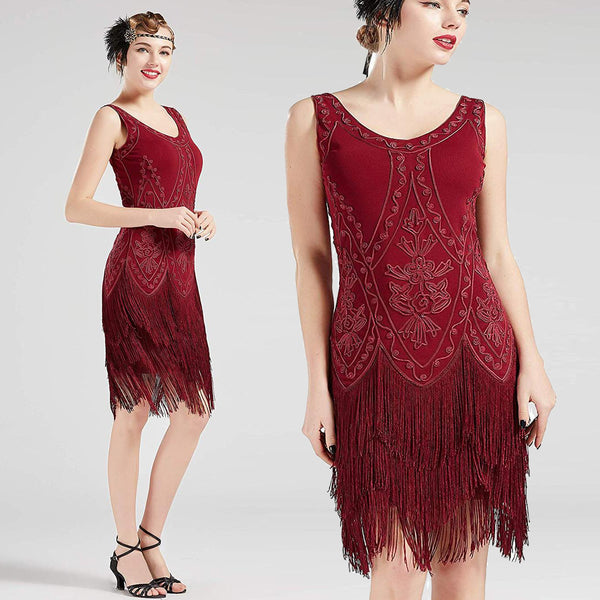 US STOCK Vintage Red 1920s Flapper Unique Dress Roaring 20s Great Gatsby Fringed Dress