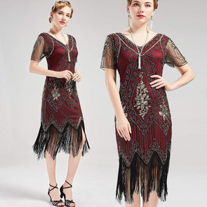 US STOCK Vintage Red and God Unique 1920s Art Deco Fringed Sequin Dress 20s Flapper Gatsby Dress