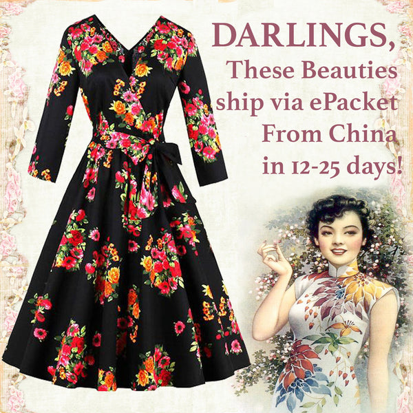 Black Pin Up Fit and Flare Floral Dress