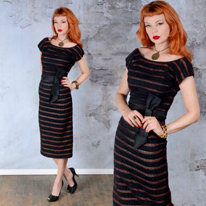 Vintage 1950s Black and Wine Red Lace Sheath Dress XS