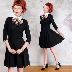 Black scalloped hemmed mini dress with white collar SM