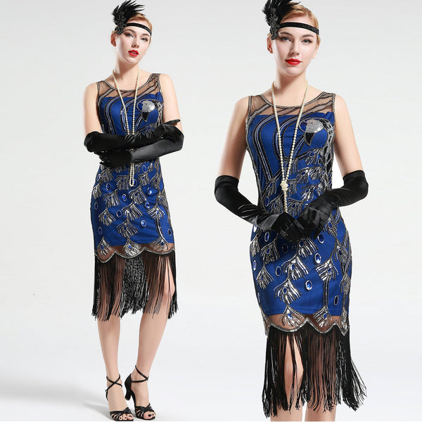 Blue and Black Peacock Sequin Fringed Party Flapper Dress