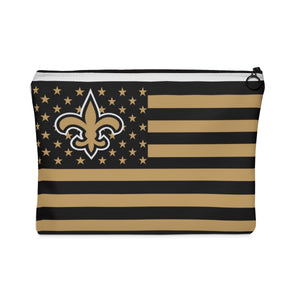 New Orleans Saints Louisiana USA American flag Makeup Bag Carry All Pouch - Flat