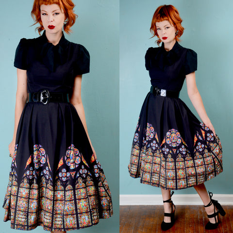 Vintage 1950s inspired Cathedral print Fit and Flare Dress SMALL