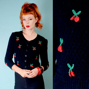 Vintage 1950s inspired waffle weave black cardigan with 3D red cherries
