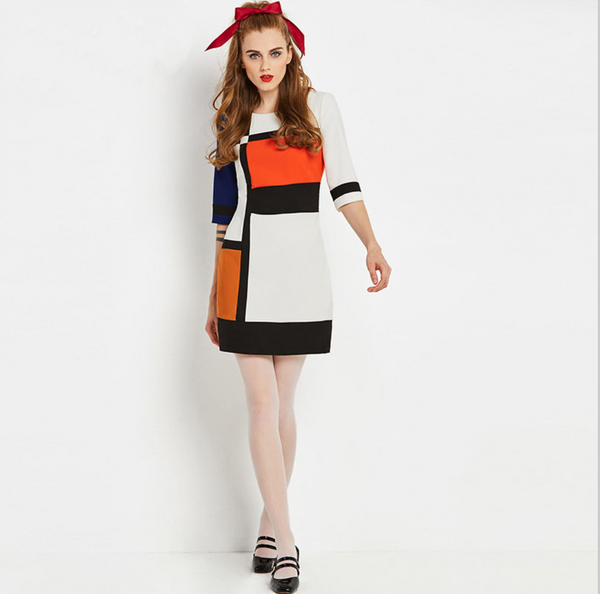 Vintage 1960s Colorblock Mini Go Go Dress