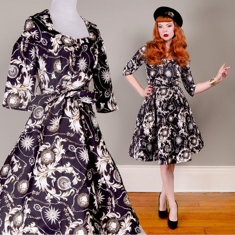 US STOCK Baroque Compass Print Fit and Flare Dress