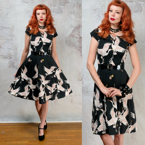 Vintage 1950s fit and flare crane bird dress - small