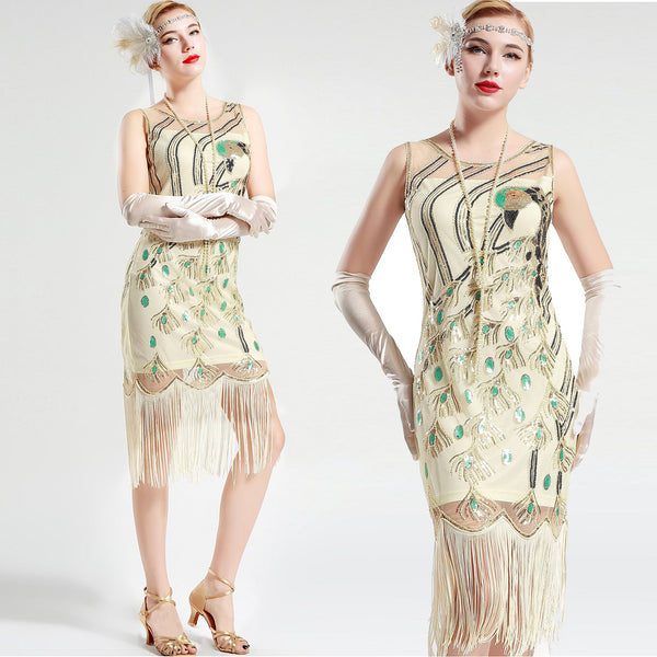 Cream White Peacock Sequin Fringed Party Flapper Dress