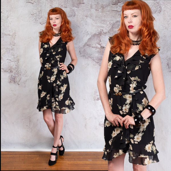 Black floral ruffle wrap dress 8 medium NWT