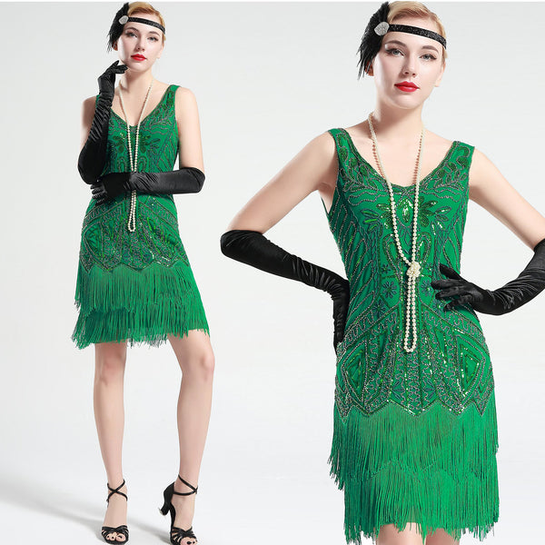 US STOCK Bright Green Sleeveless Flapper Beaded and Sequined Mini Dress